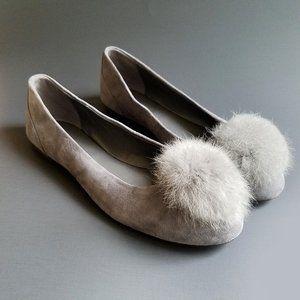 Michael Kors Remi Rabbit Fur Pom Chrcl Ballet Flat